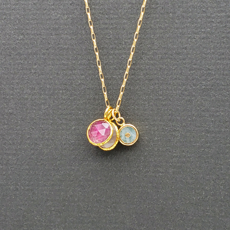 TRIO GEMS GOLD NECKLACE