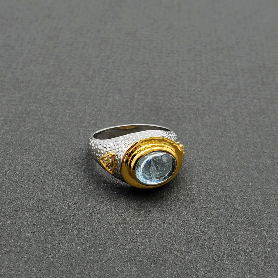 Aquamarine gold and silver Ring