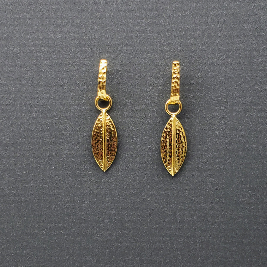 LEAF POST GOLD EARRINGS