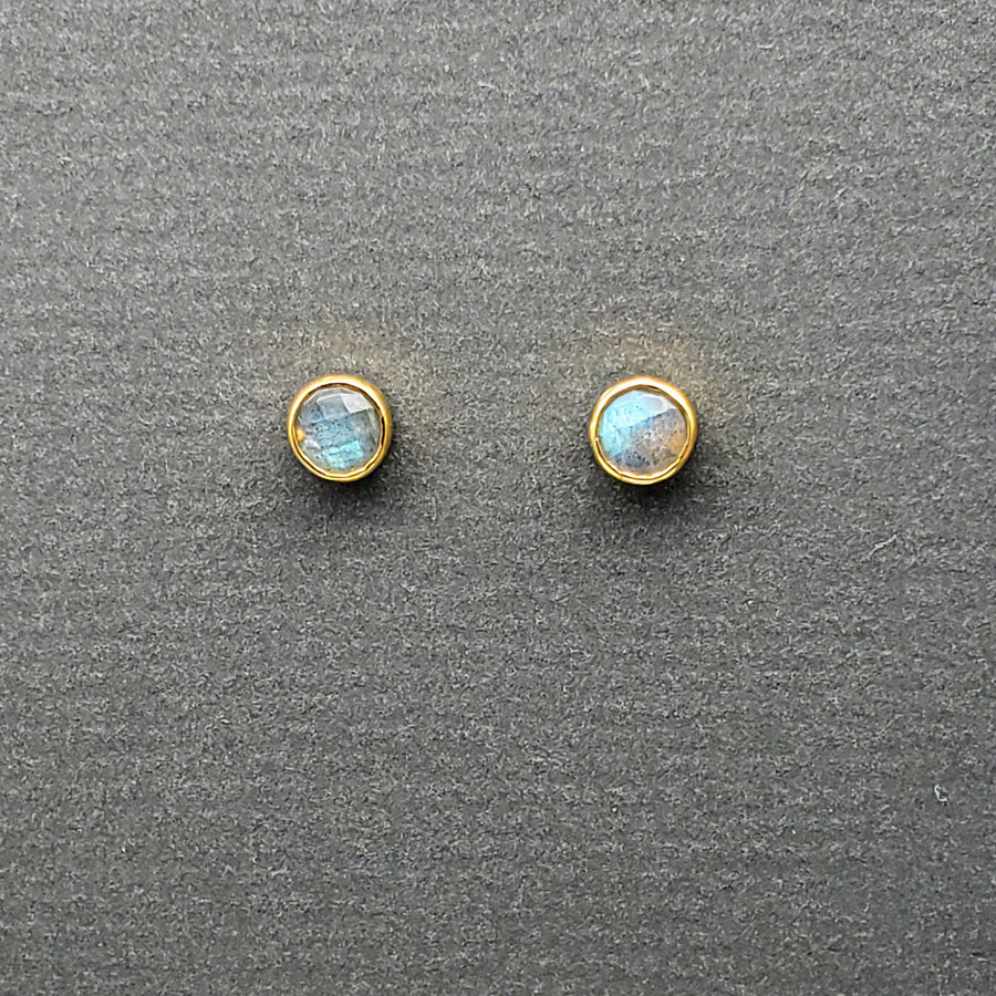 LABRADORITE GOLD STUDS EARRINGS