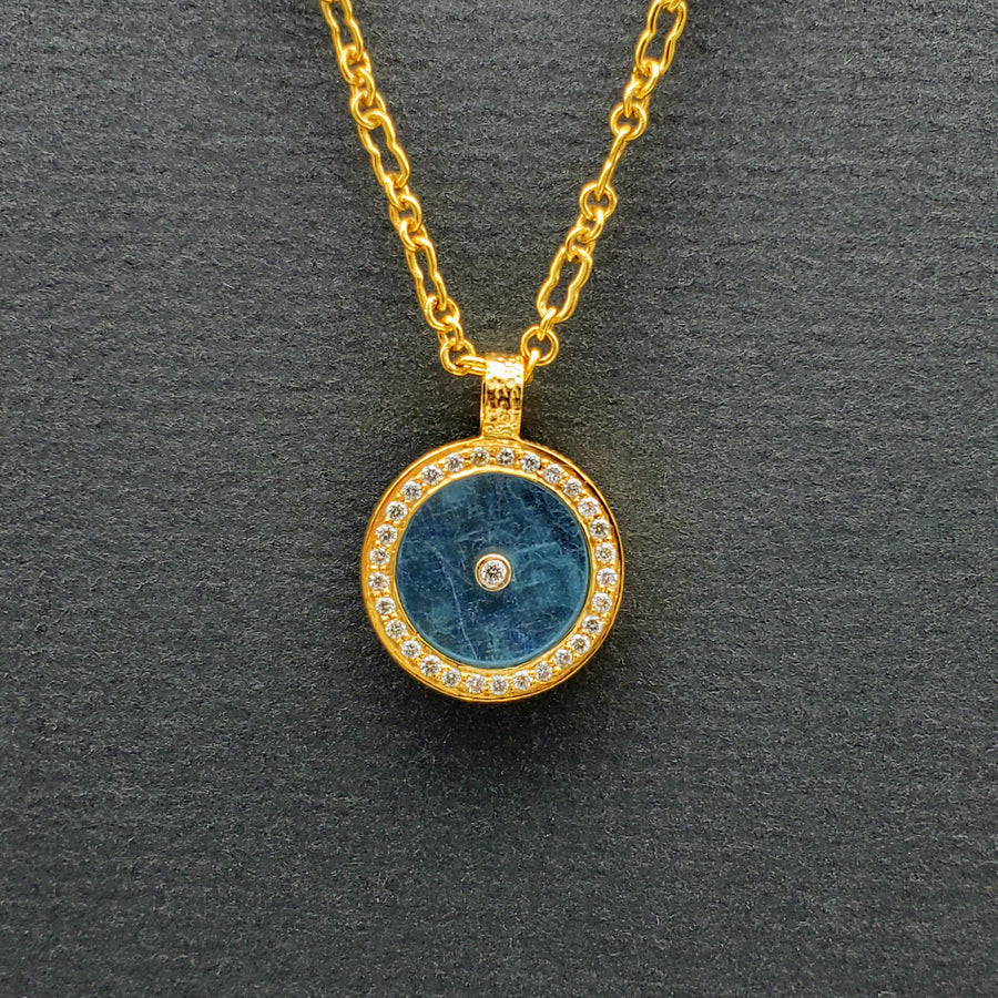AQUAMARINE WITH DIAMONDS SUN PENDANT