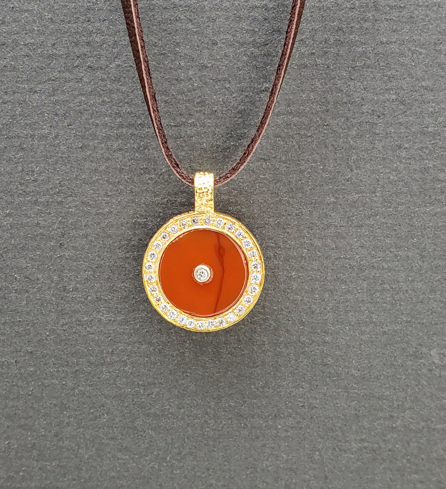 CARNELIAN WITH DIAMONDS SUN PENDANT