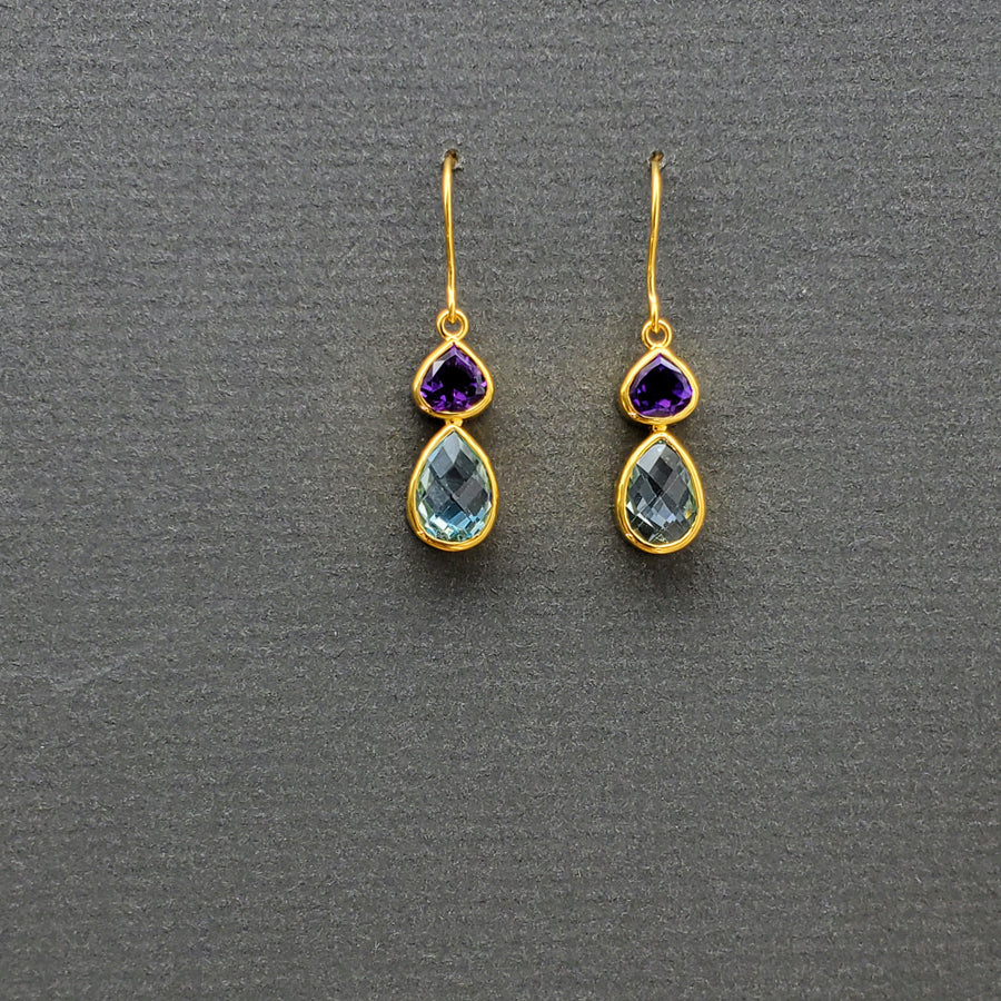 Amethyst and Blue Topaz Gold Earrings