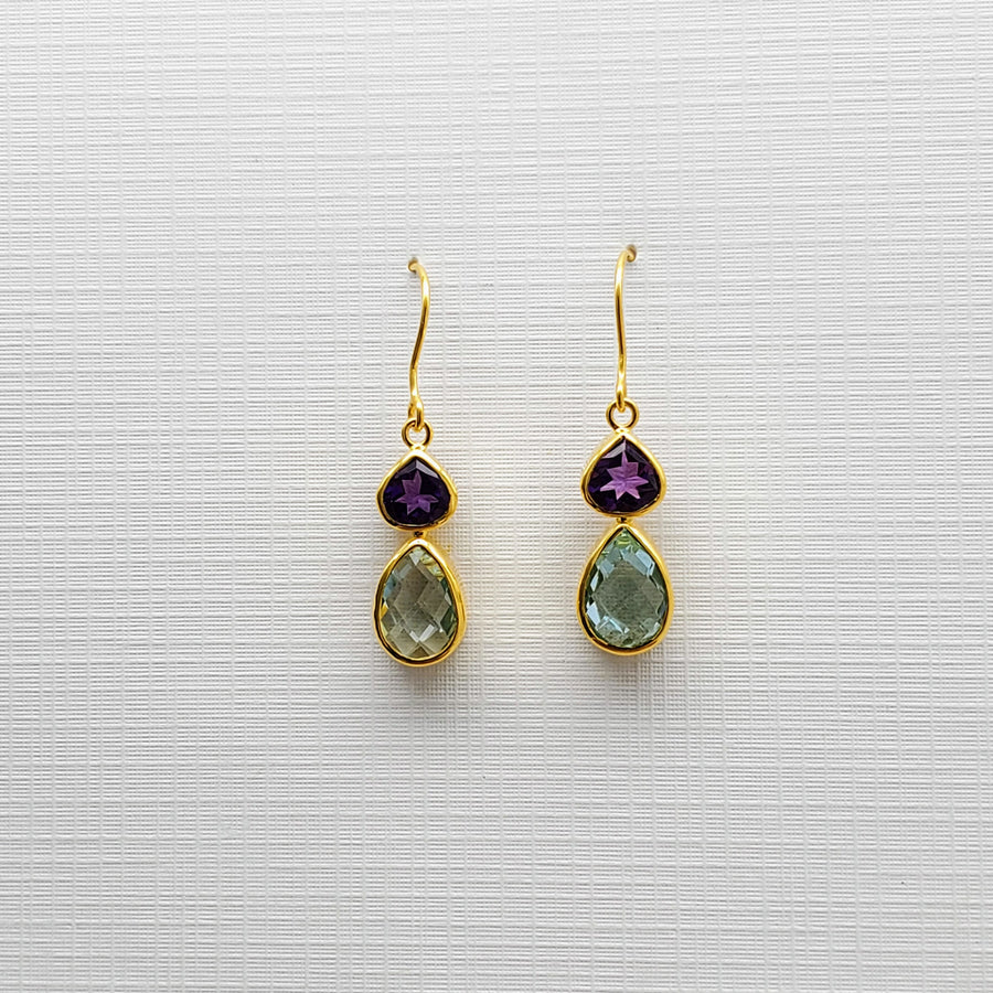 AMETHYST/TOPAZ GOLD EARRINGS