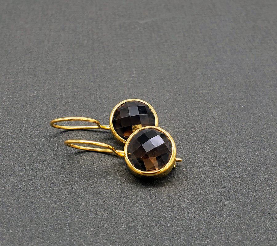 SMOKEY TOPAZ GOLD EARRINGS