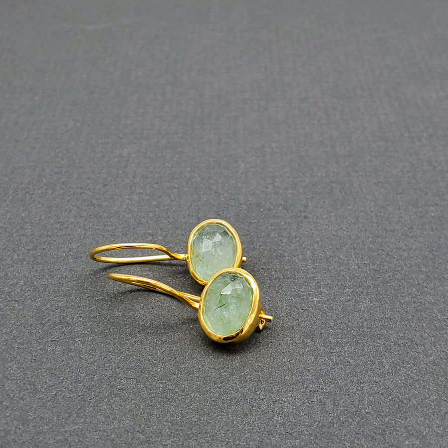 Aquamarine Oval 14kt Gold Earrings