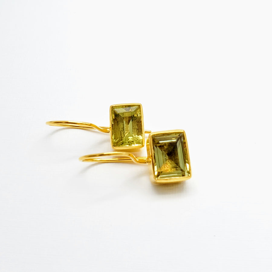 LEMON CITRINE GOLD EARRINGS