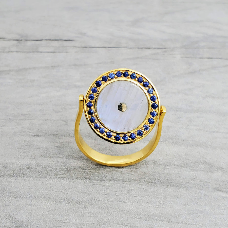 MOONSTONE SUN FLIP GOLD RING