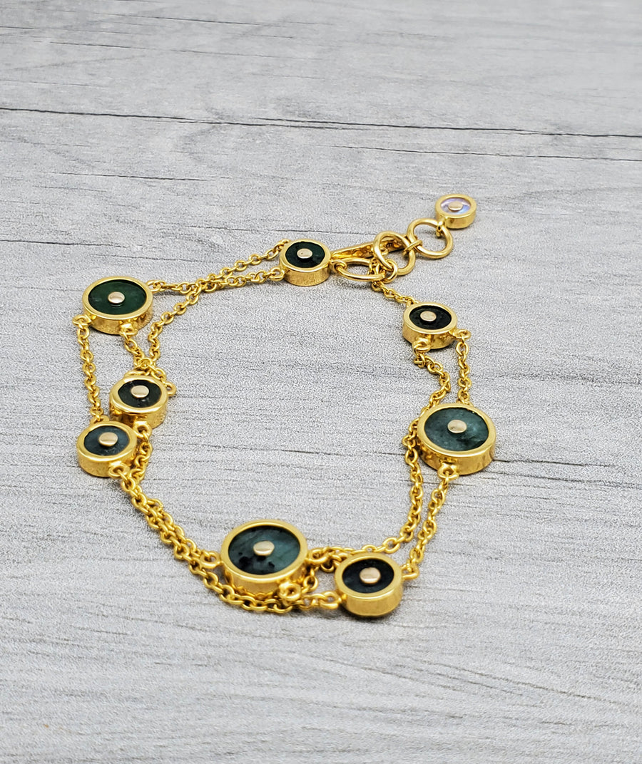 EMERALDS SUN GOLD BRACELET