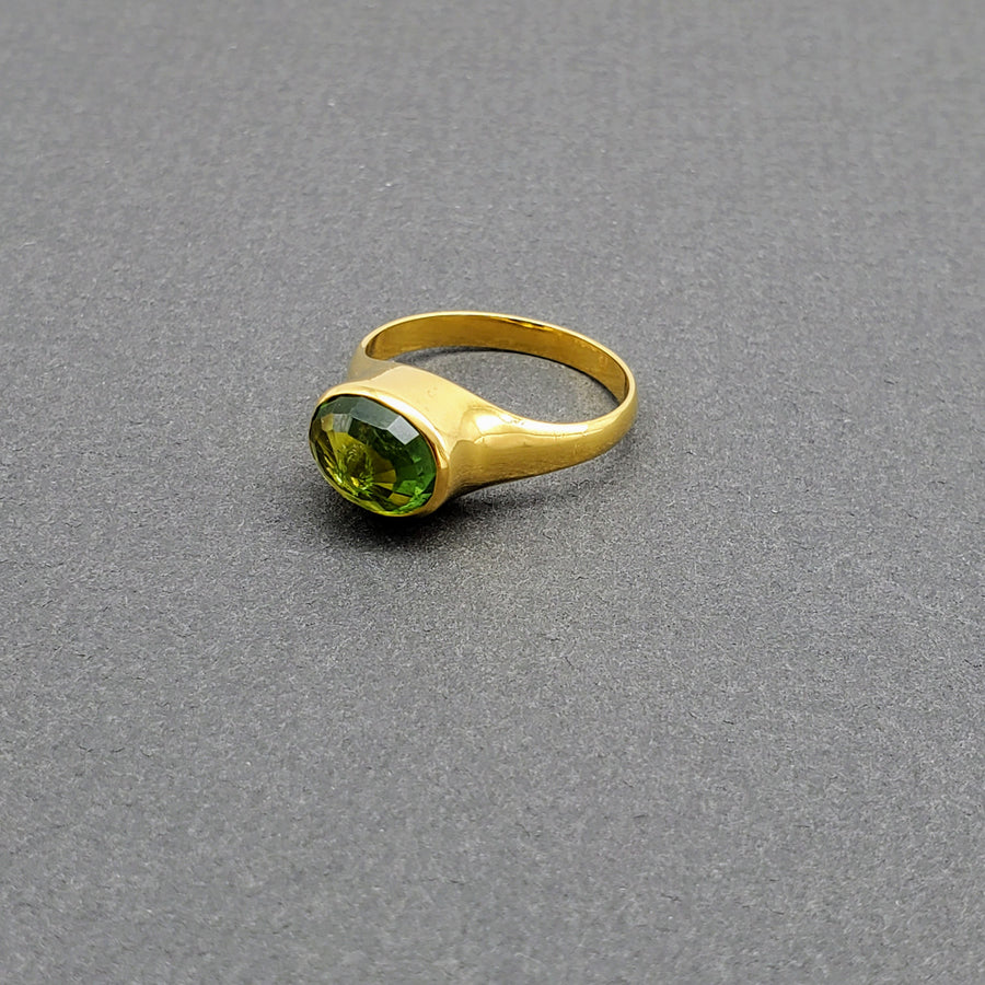 PERIDOT DOME GOLD RING