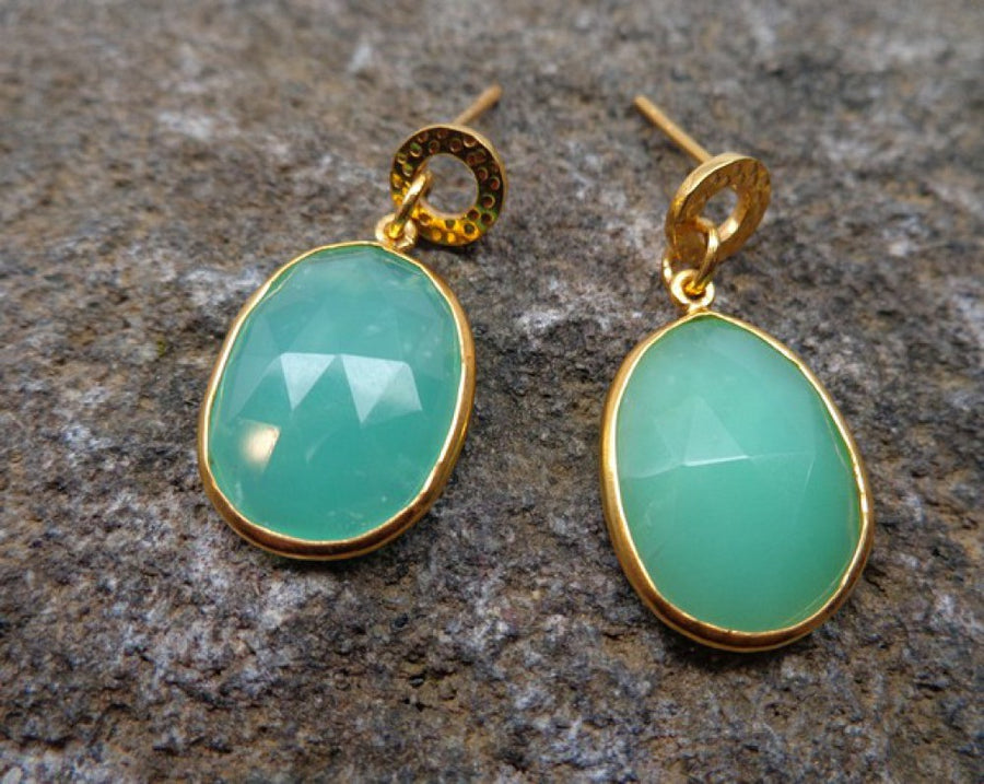 CHRYOSOPRASE GOLD EARRINGS SONIA TONKIN