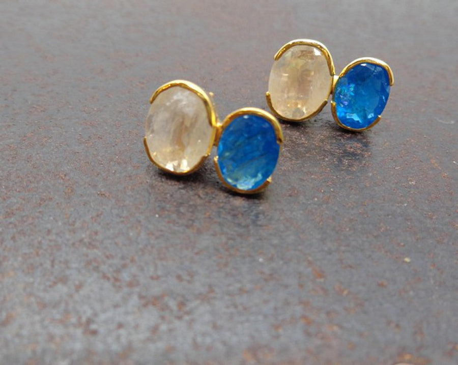 MOONSTONE APATITE GOLD EARRINGS