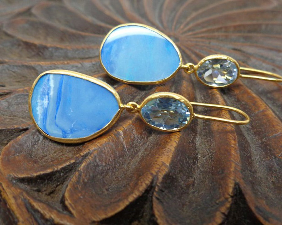 OPAL BLUE TOPAZ GOLD EARRINGS