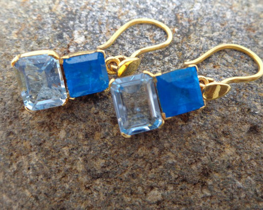 APATITE BLUE TOPAZ GOLD EARRINGS