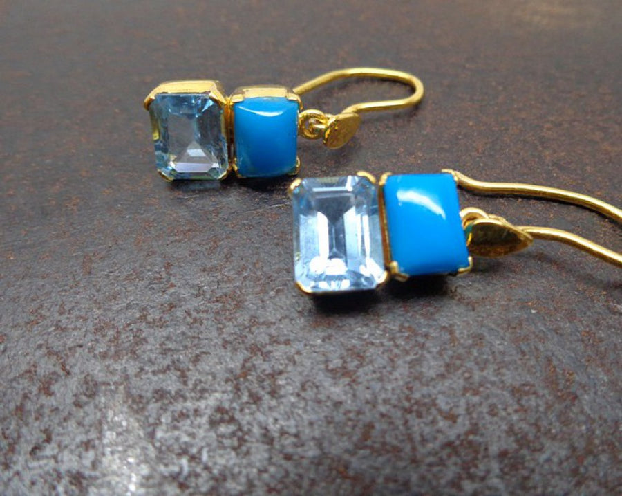 SLEEPING BEAUTY TURQUOISE TOPAZ GOLD EARRINGS
