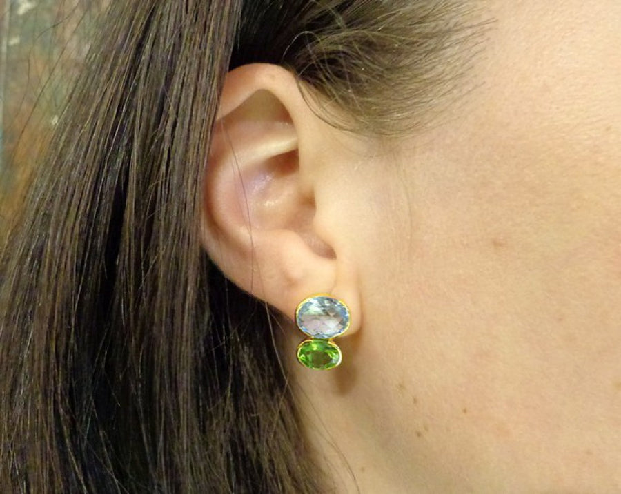 BLUE TOPAZ PERIDOT EARRINGS