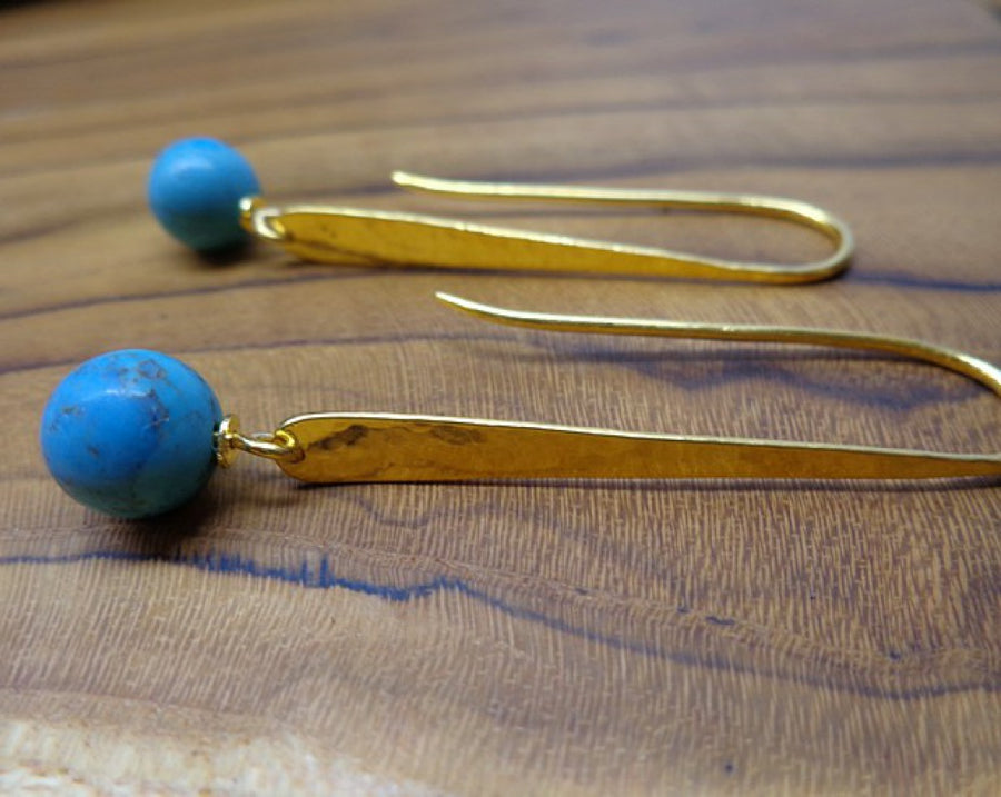 TURQUOISE GOLD EARRINGS