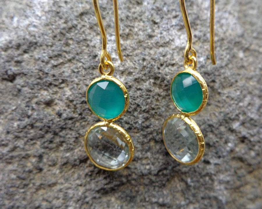 GREEN ONYX GREEN AMETHYST GOLD EARRINGS SONIA TONKIN