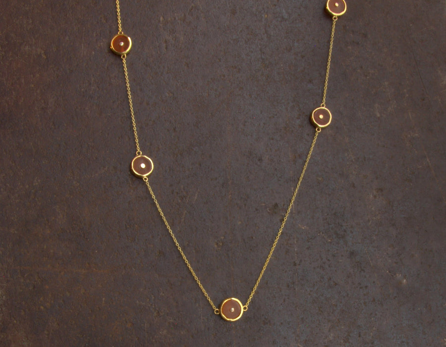 CARNELIAN SUN STATION NECKLACE