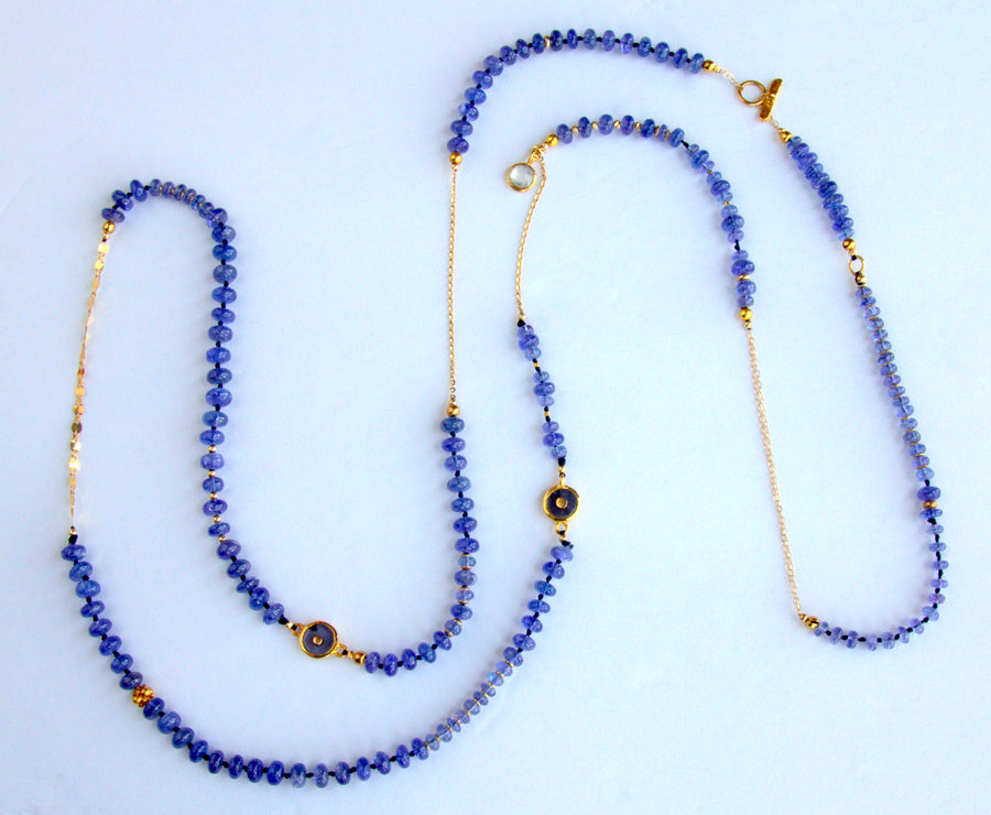TANZANITE BEADED GOLD NECKLACE