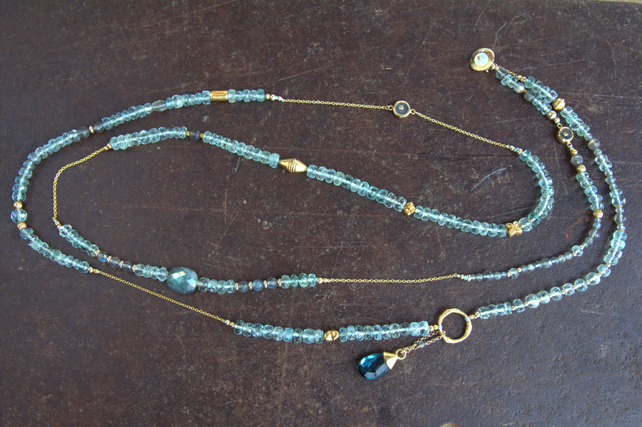 LABRADORITE AQUAMARINE BEADED GOLD NECKLACE