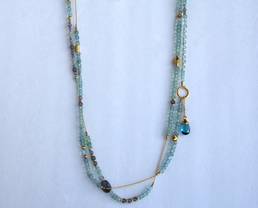 LABRADORITE AQUAMARINE BEADED GOLD NECKLACE SONIA TONKIN