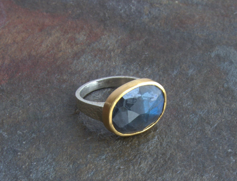 LABRADORITE MIXED METAL RING