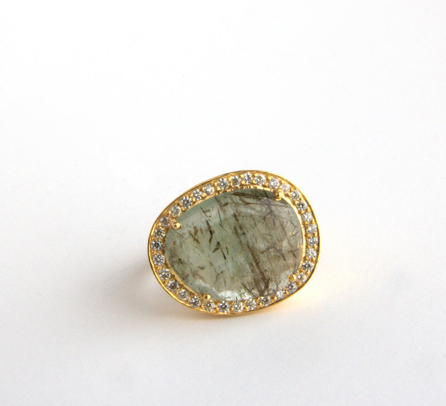 GREEN BERYL PAVE DIAMOND GOLD RING