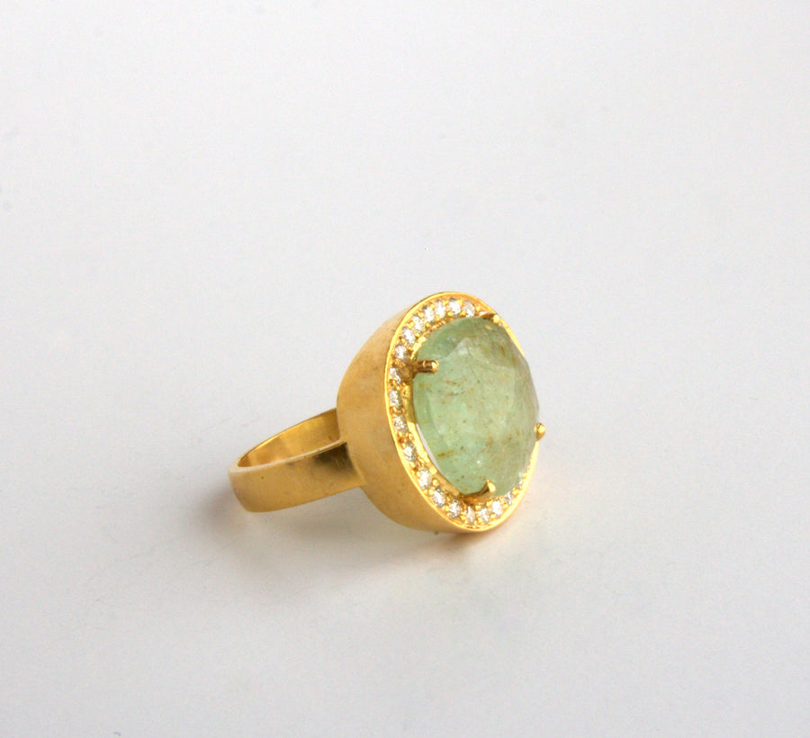 GREEN BERYL DIAMOND RING SONIA TONKIN