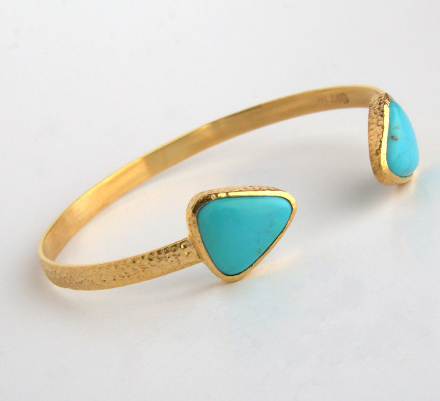 TURQUOISE OPEN GOLD BANGLE SONIA TONKIN