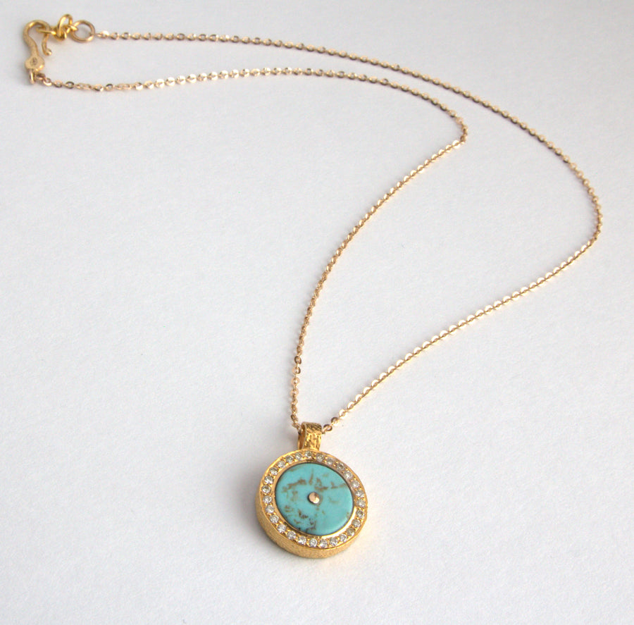 TURQUOISE PAVE DIAMONDS SIGNATURE NECKLACE