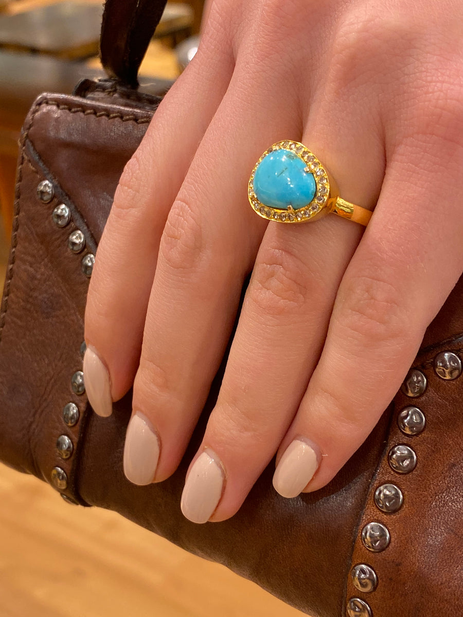 PAVE DIAMONDS TURQUOISE RING