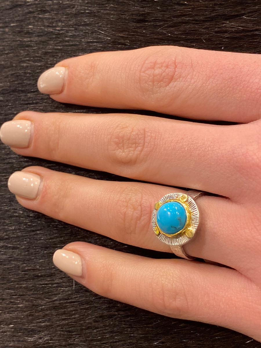 TURQUOISE GOLD DOTS RING