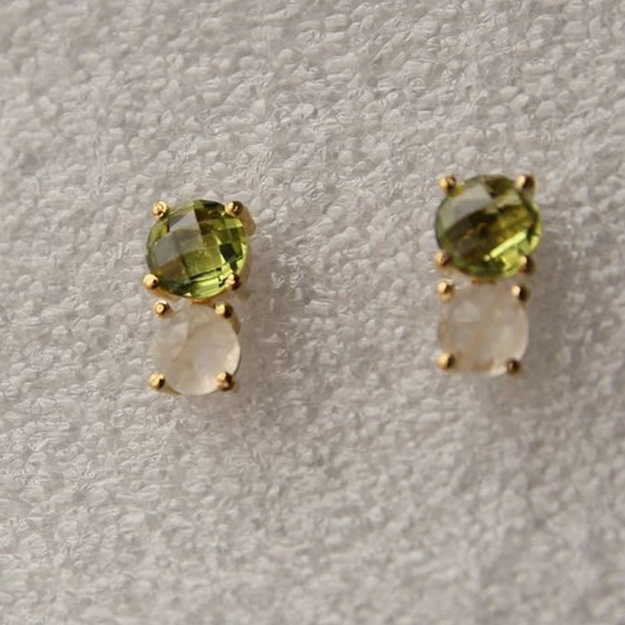 PERIDOT MOONSTONE GOLD EARRINGS