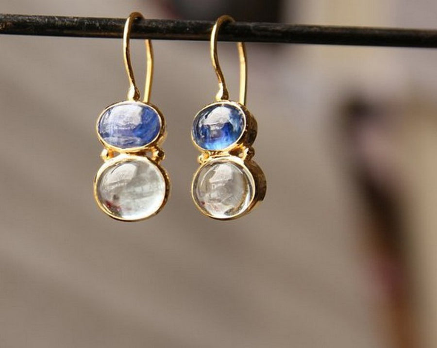 KYANITE AQUAMARINE GOLD EARRINGS