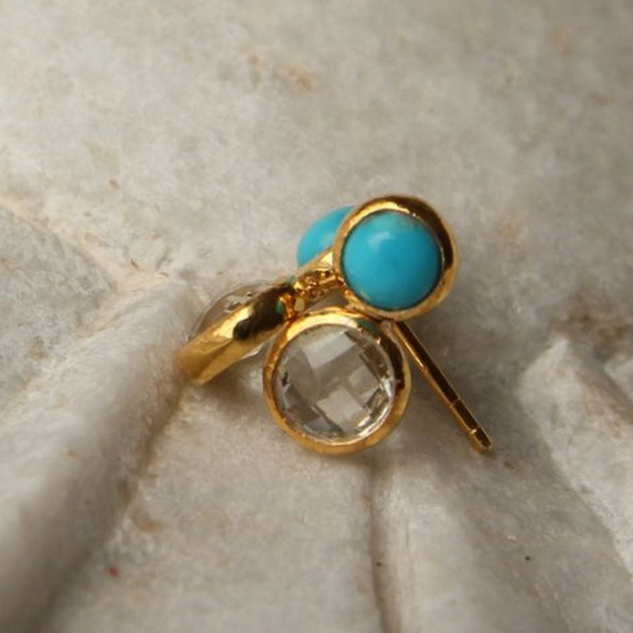 SLEEPING BEAUTY TURQUOISE MOONSTONE GOLD EARRINGS