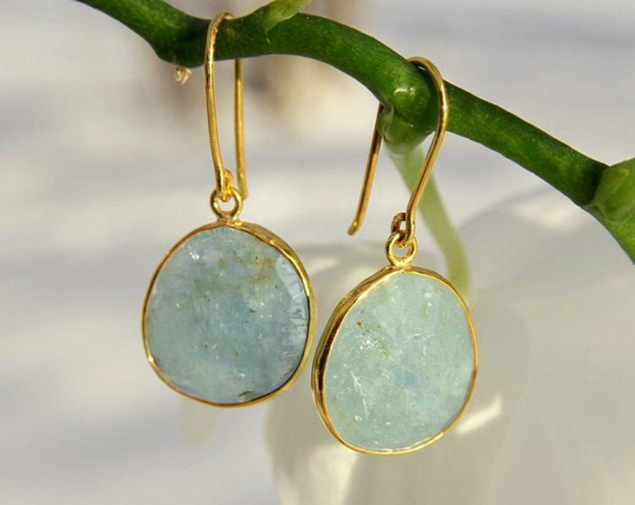 ORGANIC AQUAMARINE GOLD EARRINGS SONIA TONKIN
