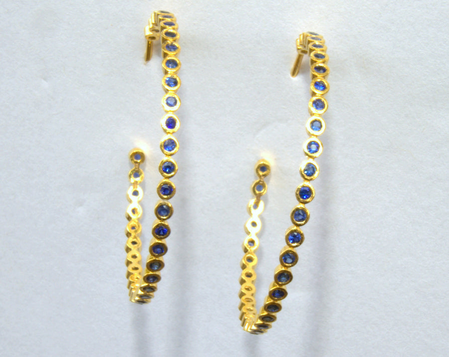 SAPPHIRE FUSION GOLD HOOPS EARRINGS