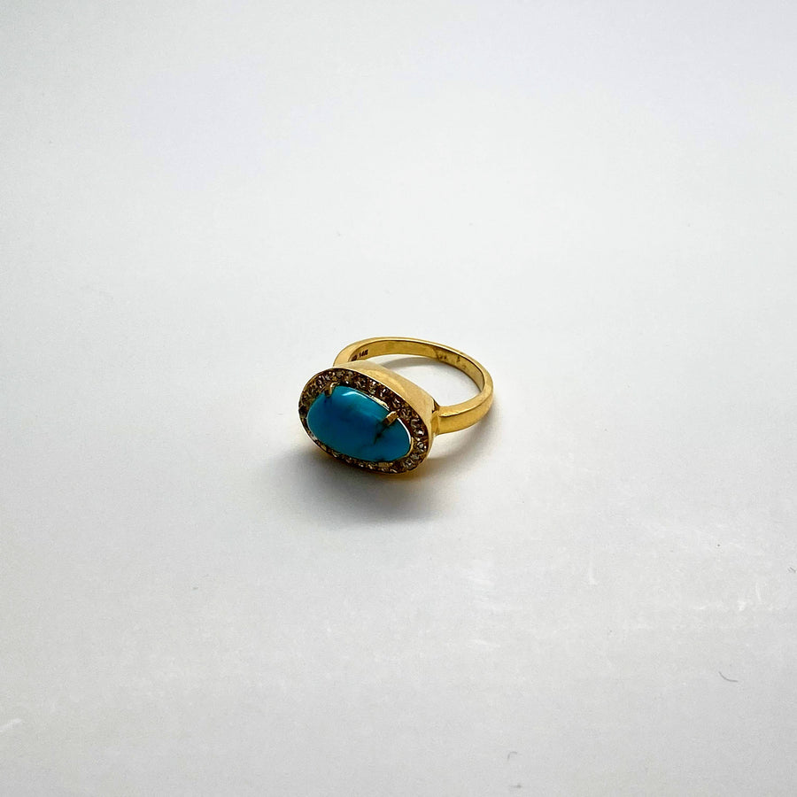 TURQUOISE DIAMONDS 14KT GOLD RING SONIA TONKIN