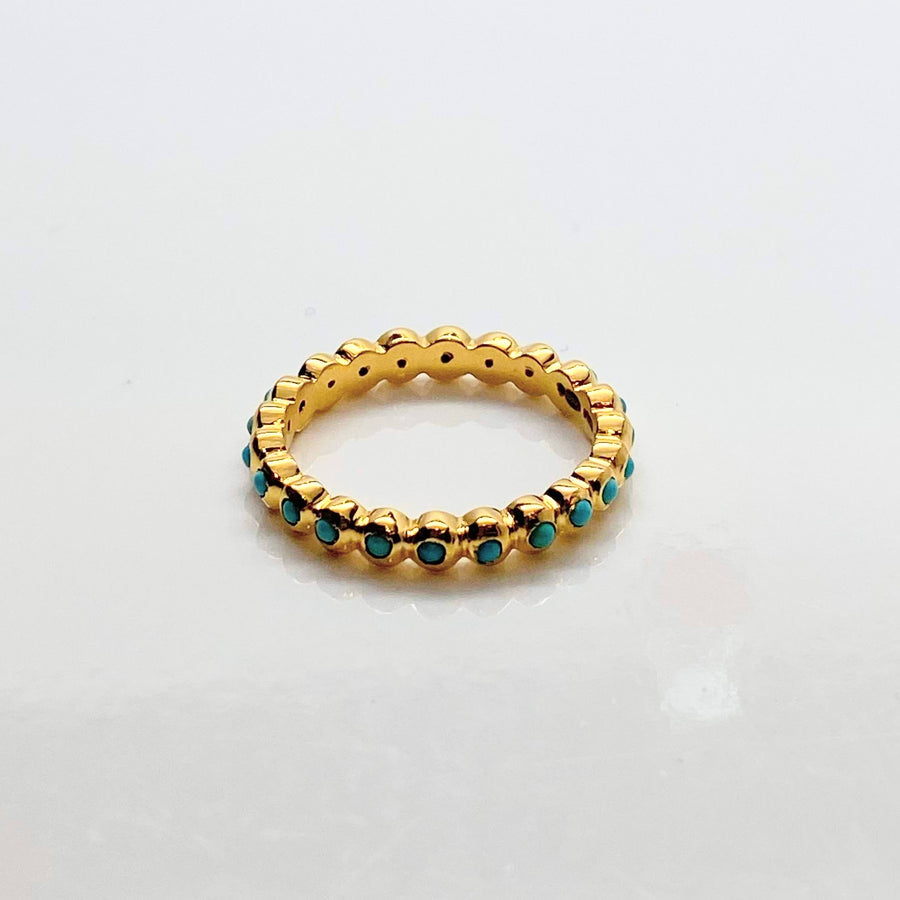 ROUND TURQUOISE 14KT GOLD RING SONIA TONKIN