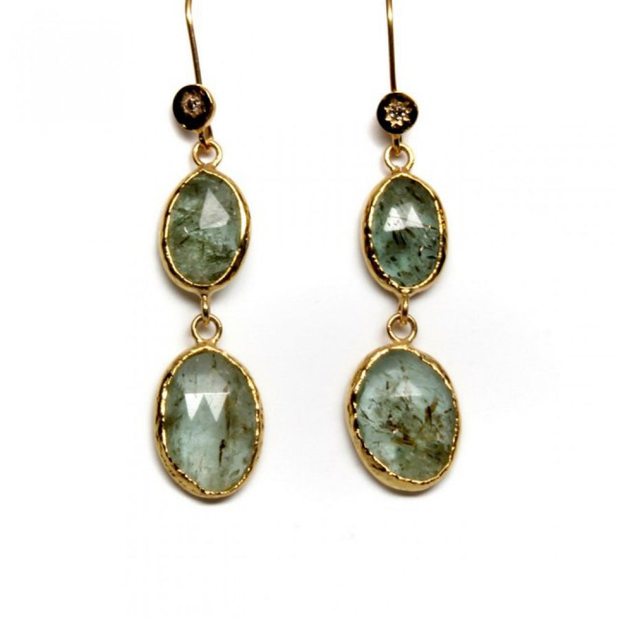 RUTILATED GREEN BERYL DIAMOND GOLD EARRINGS