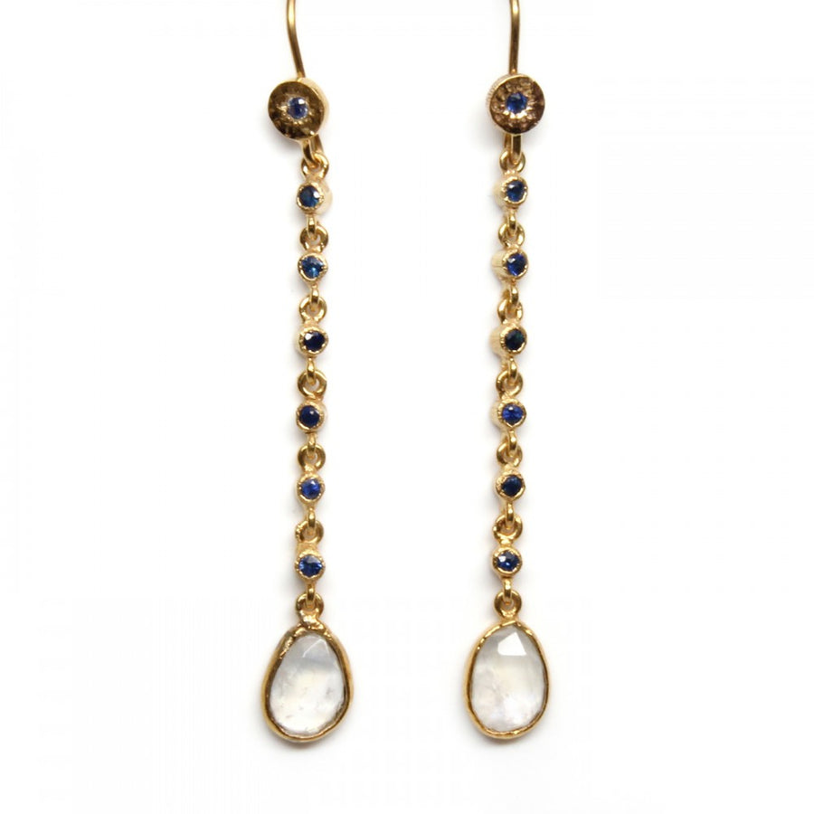 SET SAPPHIRES MOONSTONE GOLD EARRINGS