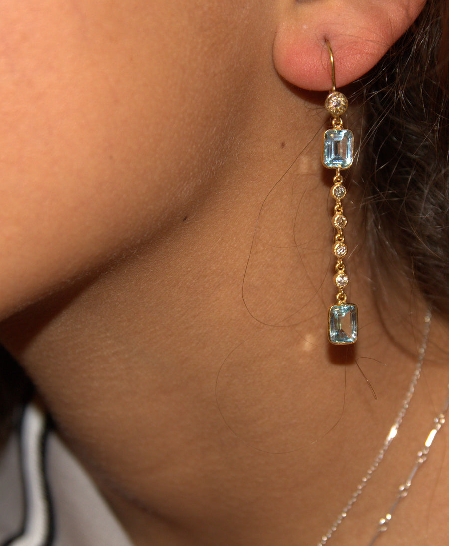 TOPAZ DIAMOND GOLD EARRINGS