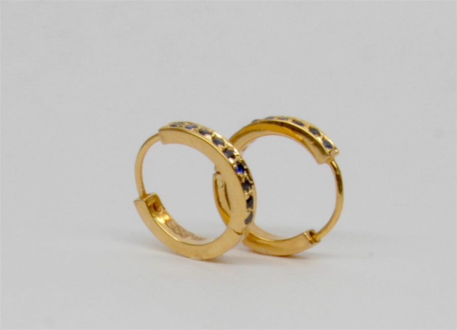 SAPPHIRES MINI GOLD EARRINGS