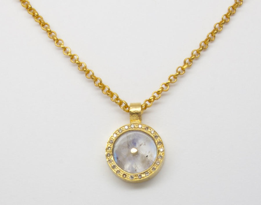SUN PAVE DIAMONDS GOLD NECKLACE