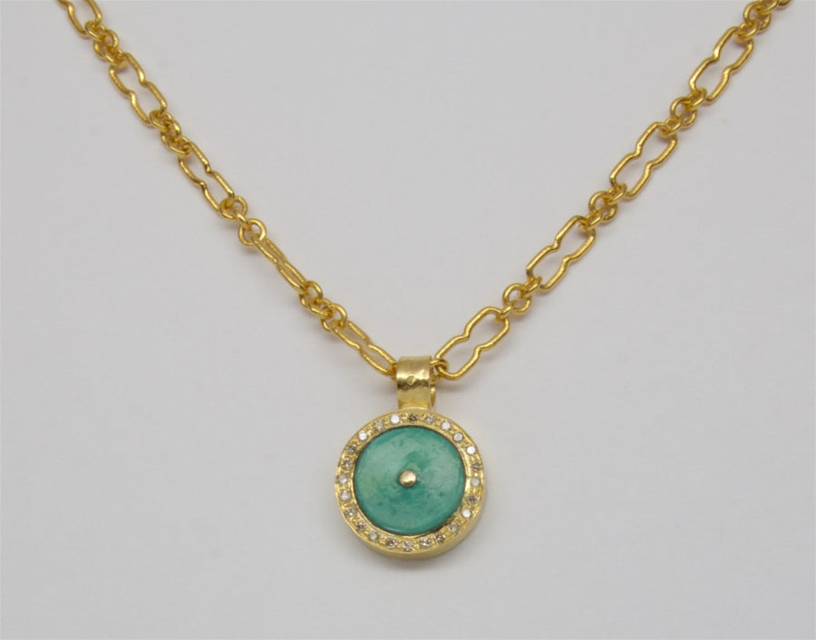 TURQUOISE DIAMOND EMERALD SIGNATURE GOLD NECKLACE