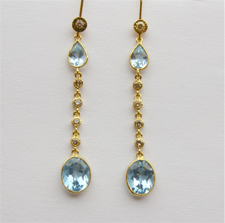 TOPAZ DIAMOND GOLD EARRINGS SONIA TONKIN