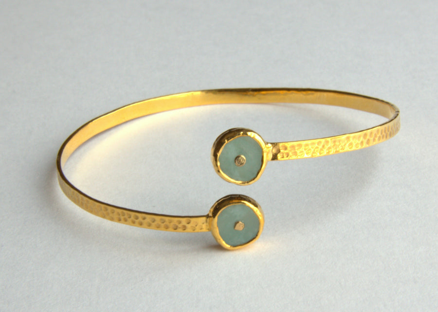 AMAZONITE SIGNATURE GOLD OPEN BANGLE