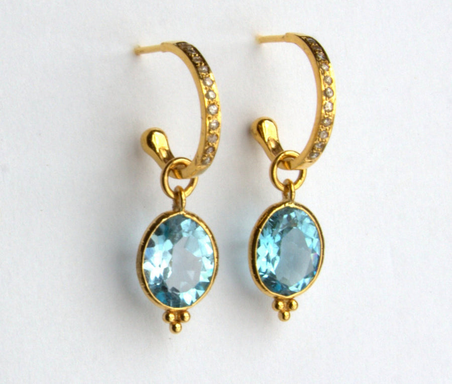 PAVE DIAMOND HOOPS GEMSTONES EARRINGS