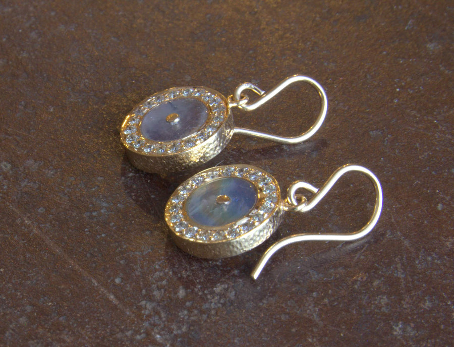 PAVE DIAMONDS MOONSTONE SUN EARRINGS